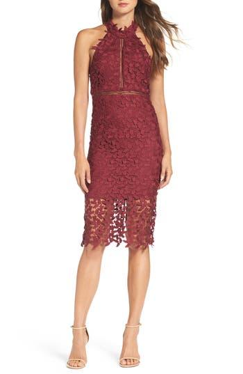 Bardot Gemma Halter Lace Sheath Dress, Burgundy