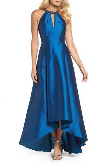 Adrianna Papell Beaded Neck Faille Gown, Blue