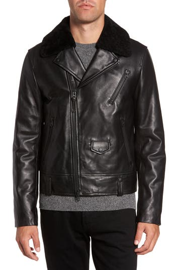 Men's Mackage Lambskin Leather Down Jacket With Genuine Shearling Collar