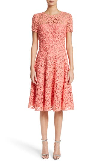 St. John Collection Paisley Guipure Lace Dress, Coral