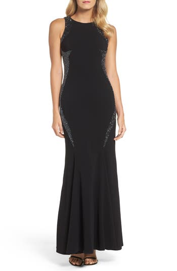 Adrianna Papell Embellished Gown, Black