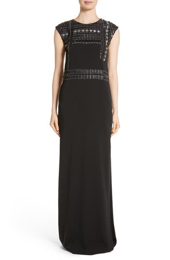 St. John Evening Cady Column Gown, Black