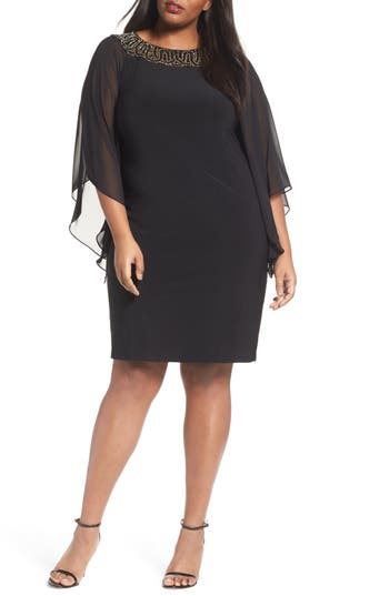 Plus Size Xscape Beaded Chiffon Sleeve Sheath Dress, Black