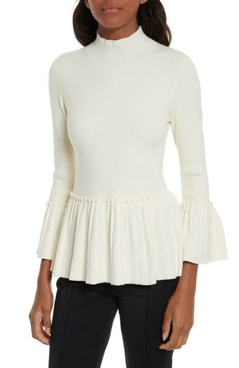 Women's Ted Baker London Lislie Peplum Sweater, Size 0 - Ivory