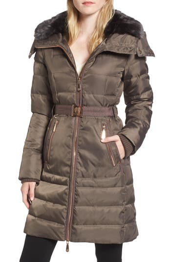 Vince Camuto Belted Coat With Detachable Faux Fur, Grey