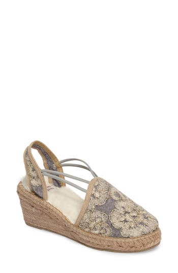 Toni Pons Medan Faux Fur Lined Espadrille Wedge Grey