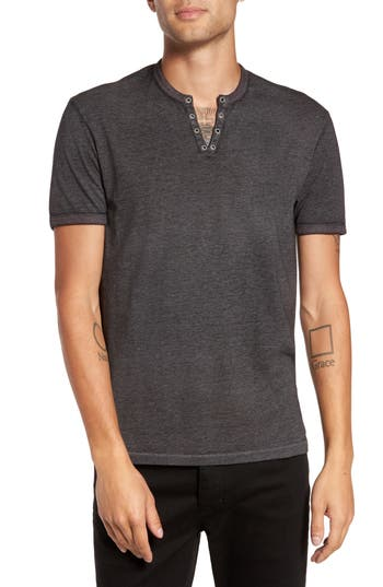 John Varvatos Eyelet Henley T-Shirt, Black