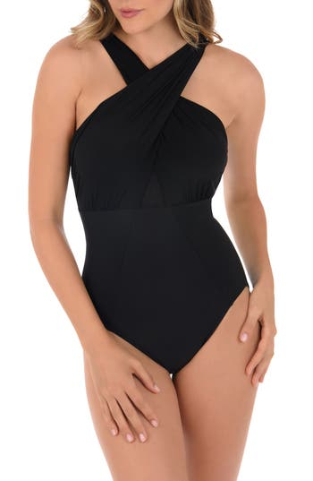 Miraclesuit Underwire Halter One-Piece Swimsuit, Black