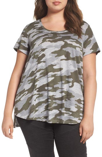 Plus Size Two By Vince Camuto Camo Print Tee, Green