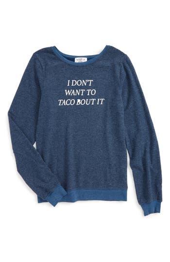 Girl's Wildfox Baggy Beach Jumper - Taco Talk Pullover, Size 7-8 - Blue