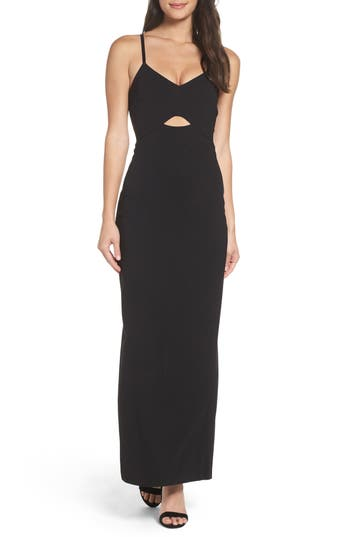 Ali & Jay Step & Repeat Cutout Gown, Black