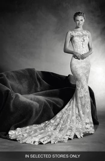 Atelier Pronovias Niebla Embellished Mermaid Gown, Size - Ivory