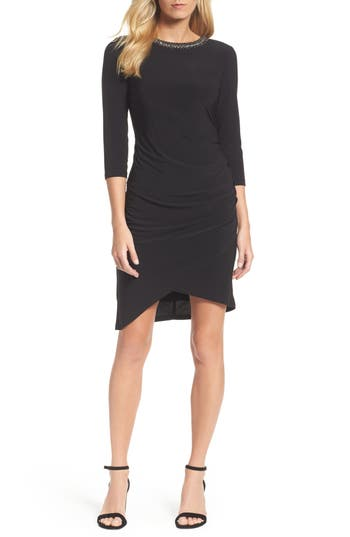 Chetta B Jeweled Neck Sheath Dress, Black