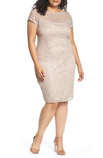 Plus Size Marina Sequin Lace Sheath Dress, Beige