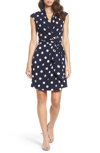 Women's Eliza J Polka Dot Jersey Faux Wrap Dress