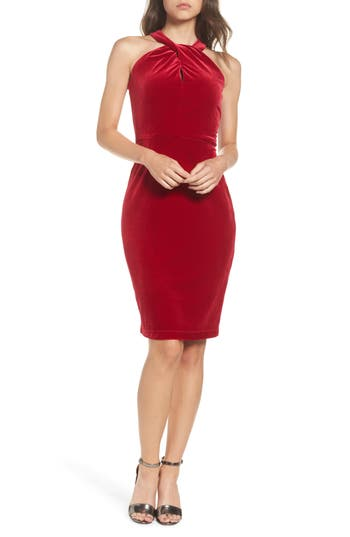 Taylor Dresses Velvet Twisted Halter Dress, Red