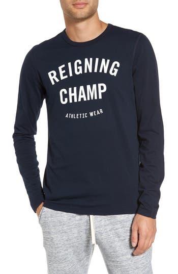 Reigning Champ Gym Logo Long Sleeve T-Shirt, Blue