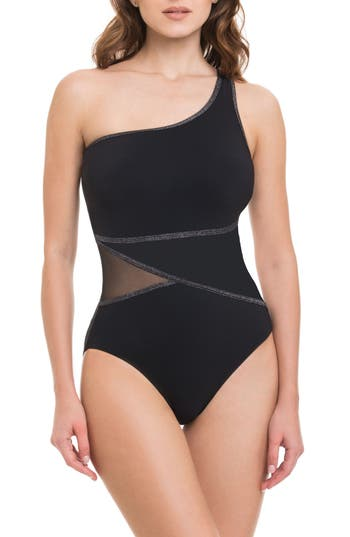 Profile By Gottex Stargazer One-Shoulder One-Piece Swimsuit, Black