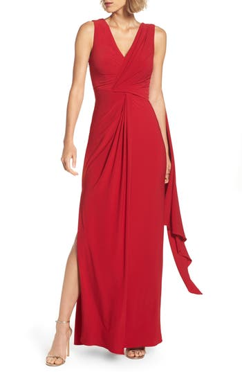 Adrianna Papell Draped Jersey Gown, Red