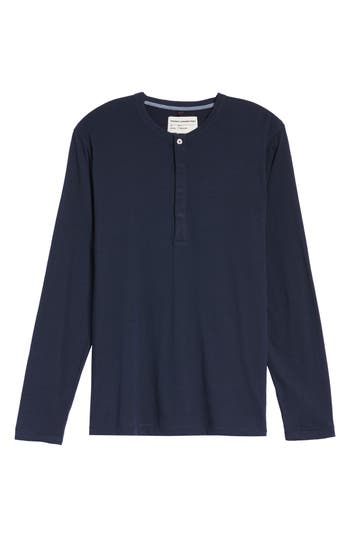French Connection Long-Sleeve Henley T-Shirt, Blue