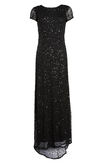 Adrianna Papell Short Sleeve Sequin Mesh Gown, Black