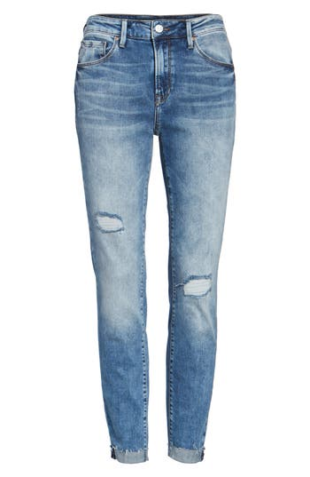 Mavi Jeans Tess Ripped Skinny Crop Jeans, 7 x 27 - Blue