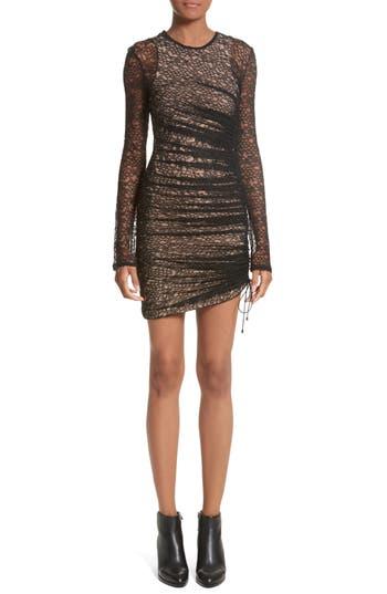 Alexander Wang Ruched Lace Dress, Black