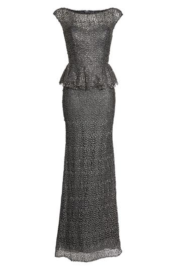 La Femme Embellished Lace Peplum Gown, Grey