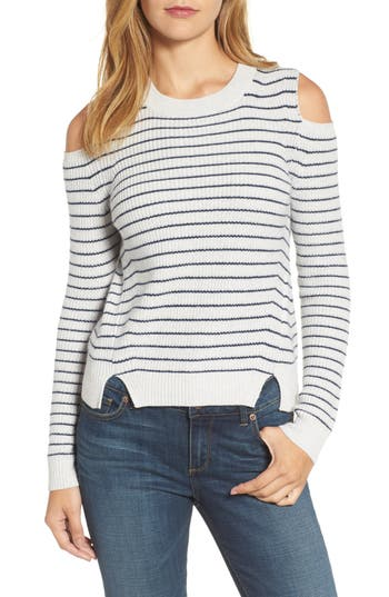 Women's Lucky Brand Cold Shoulder Stripe Sweater, Size X-Small - Grey