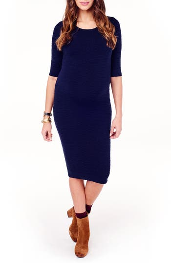Ingrid & Isabel Sweater Knit Maternity Sheath Dress, Blue
