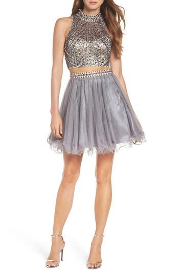 Blondie Nites Embellished Two-Piece Skater Dress, Grey