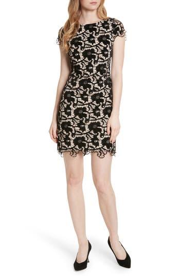 Alice + Olivia Clover Floral Embroidered Velvet Dress, Black