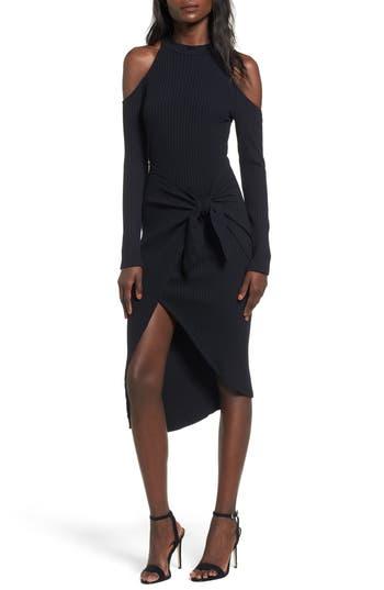 Lush Tie Waist Cold Shoulder Dress, Black