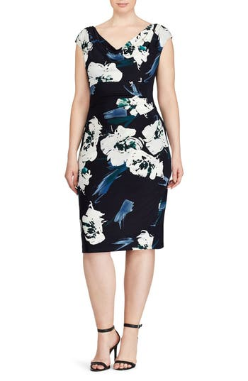 Plus Size Lauren Ralph Lauren Floral Sheath Dress, Blue