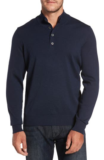Thomas Dean Merino Wool Blend Mock Neck Sweater, Blue