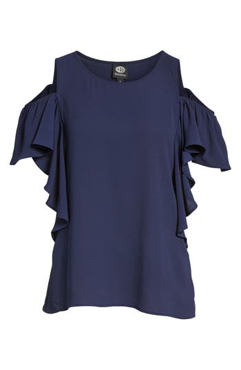 Women's Bobeau Cold Shoulder Ruffle Sleeve Top, Size X-Large - Blue