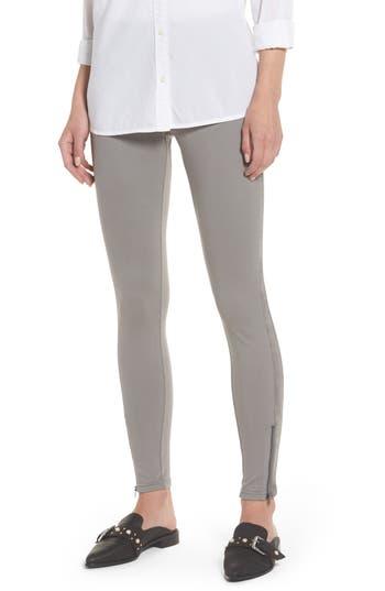 Hue Curvy Fit Faux Suede Panel Leggings, Grey