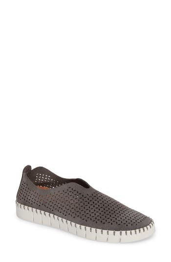 Jeffrey Campbell Tiles Perforated Slip-On Sneaker, Grey