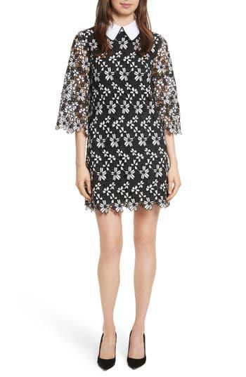 Alice + Olivia Debra Collared Lace Tunic Dress, Black