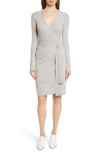Women's Diane Von Furstenberg Linda Cashmere Wrap Dress, Size Large - Grey