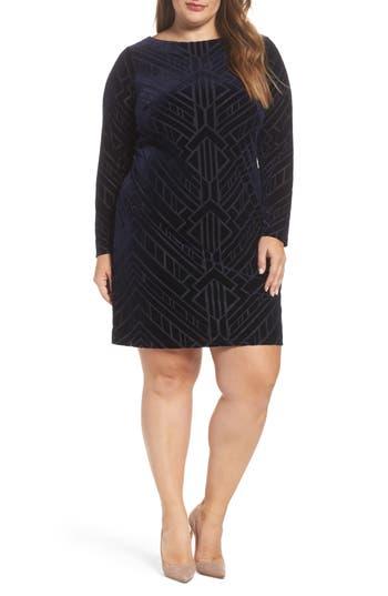 Plus Size Vince Camuto Burnout Velvet Sheath Dress, Blue