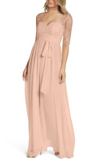Lulus Sweetheart Chiffon Gown, Pink
