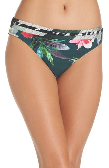 La Blanca Jungle Floral Shirred Hipster Bikini Bottoms, Green