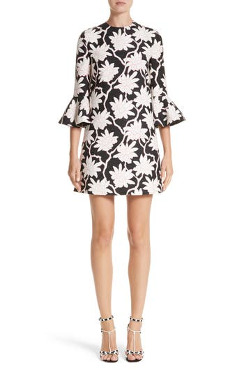 Women's Valentino Rhododendron Print Wool & Silk Dress, Size 2 US / 38 IT - Black