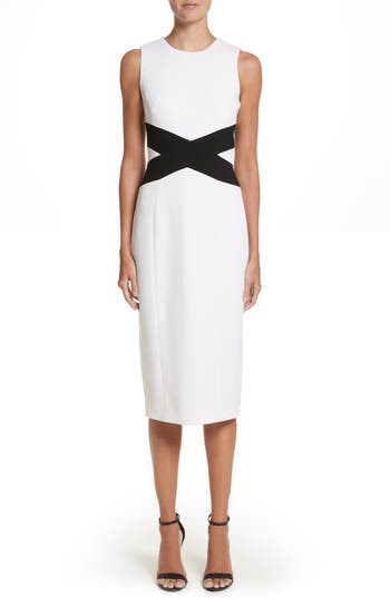 Michael Kors Contrast Stretch Boucle Crepe Sheath Dress, White