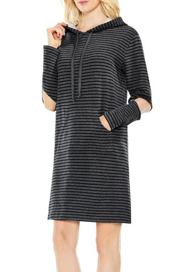 Two By Vince Camuto Daydream Stripe Hooded Dress, Grey