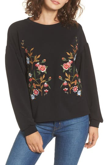 Elodie Embroidered Sweatshirt, Black