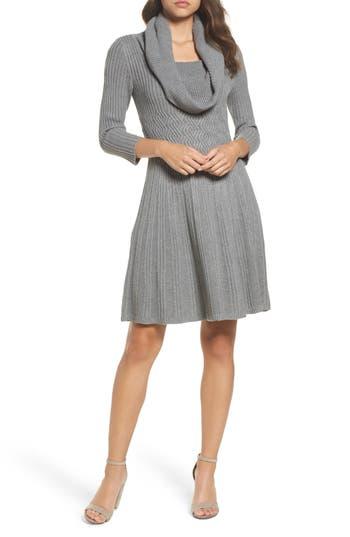 Eliza J Cowl Neck Sweater Dress, Grey