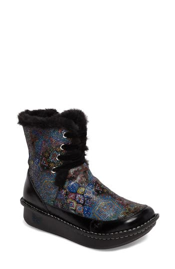 Alegria Twisp Lace-Up Boot With Faux Fur Lining, Purple