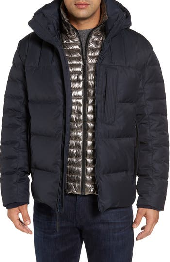 Men's Andrew Marc Groton Slim Down Jacket With Faux Shearling Lining, Size Small - Grey